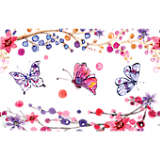 Watercolor Branches and Butterflies