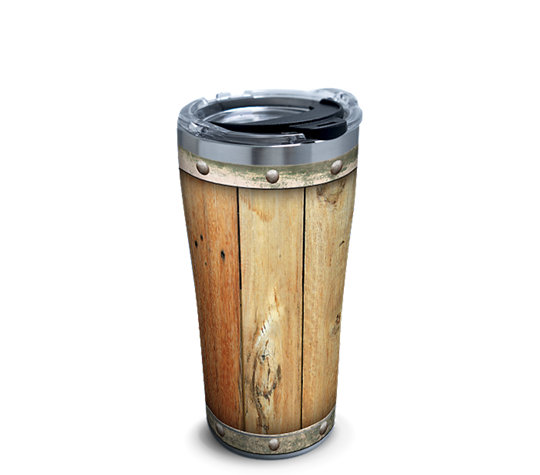 Stainless Steel Tumbler Wood Barrel With Clear And Black