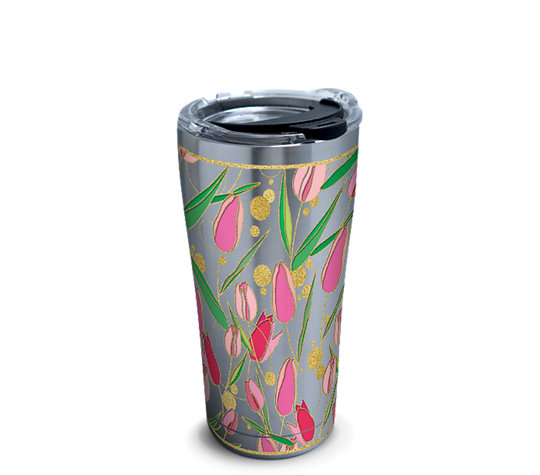 Stainless Steel Tumbler Tulip Pattern With Clear Lid