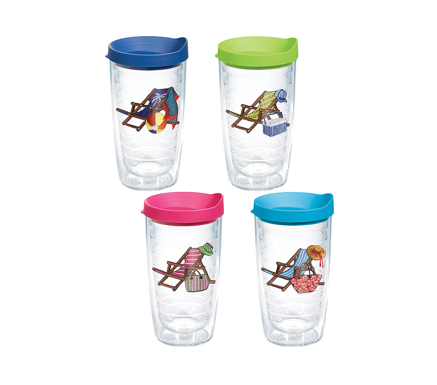 Beach Chairs Emblem With Travel Lid 4 Pack Gift Set Boxed Tervis