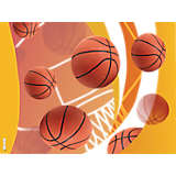 Basketballs Net & Golden Background