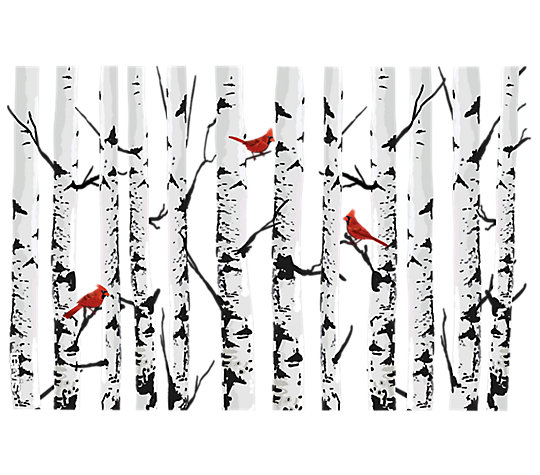 Aspen Trees With Cardinals image number 1