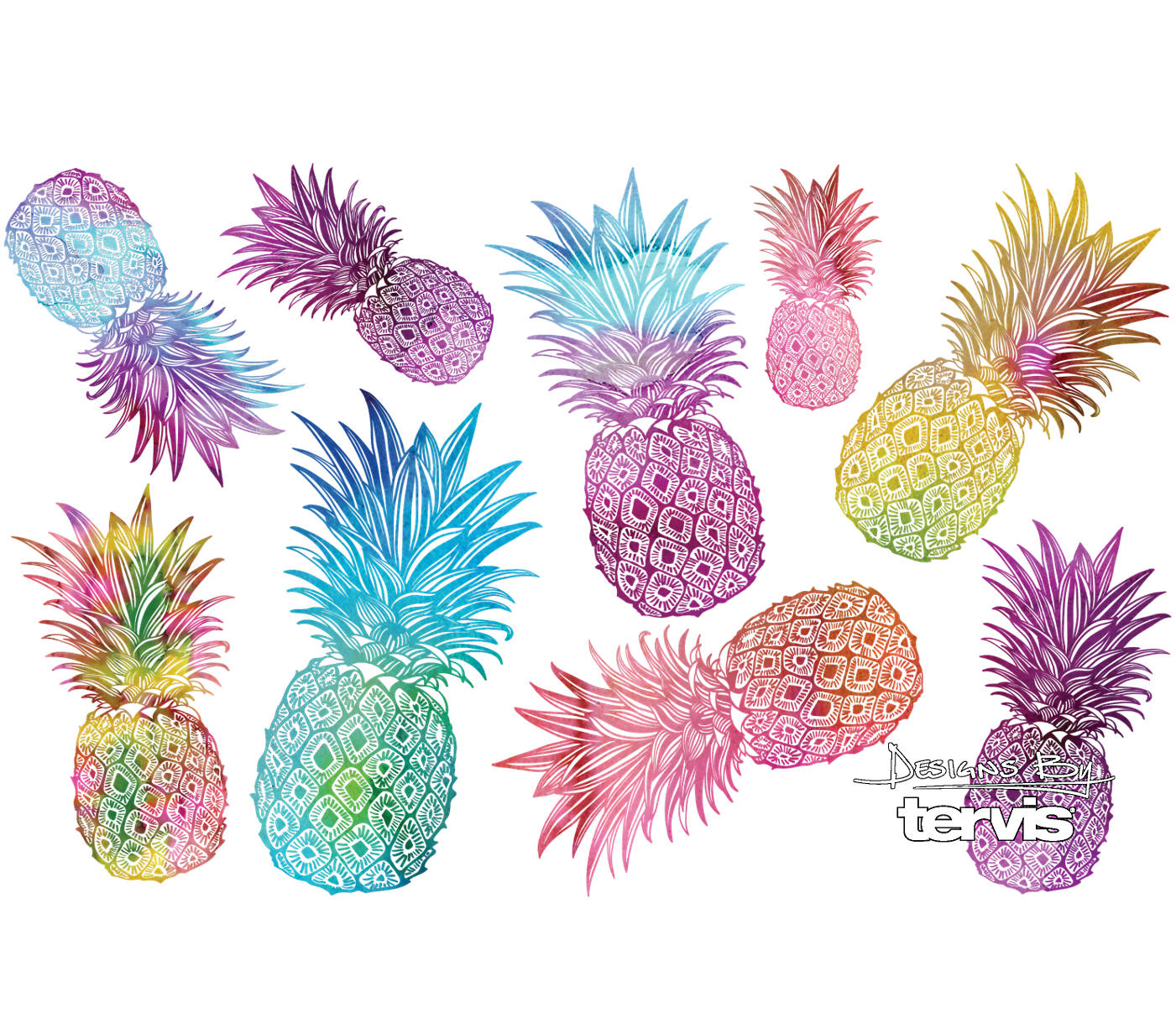 a4f668e4834 Watercolor Pineapples Stainless Steel With Hammer Lid   Tervis ...