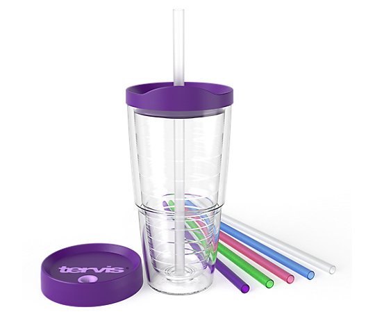 Clear 24oz Tumbler and Purple Accessories