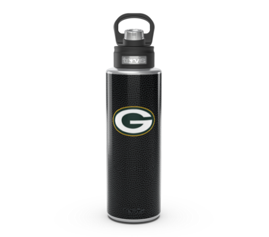 NFL® Green Bay Packers - Black Leather 40oz Stainless Steel Wide Mouth Bottle with Deluxe Spout Lid