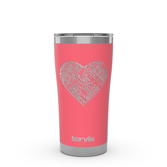 Pink Ribbon Heart Engraved on Berry Blush