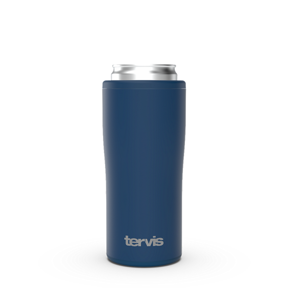 Deepwater Blue Powder Coated Slim Can Cooler with Press Fit Gasket