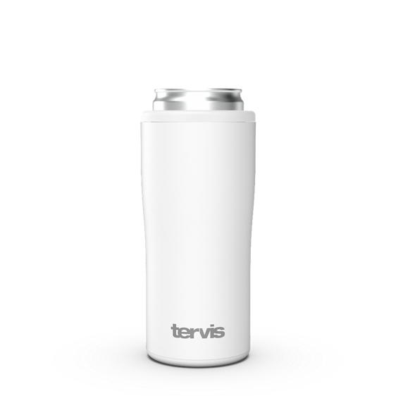Glacier White Powder Coated Slim Can Cooler with Press Fit Gasket