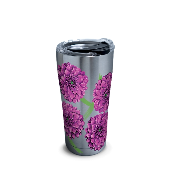 Stainless Steel Tumbler, Painted Dahlias