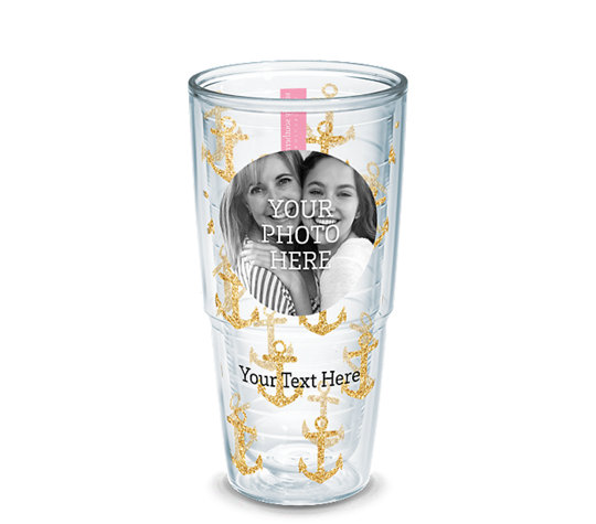 custom photo tumbler with gold anchors