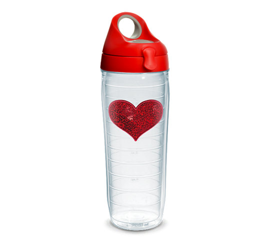 Tervis Red Sequins Heart 24oz Water Bottle